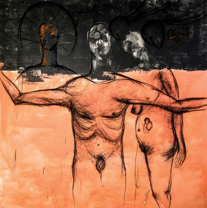 A Born, Acrylic and charcoal on canvas, 90 x 92 inches, 2017