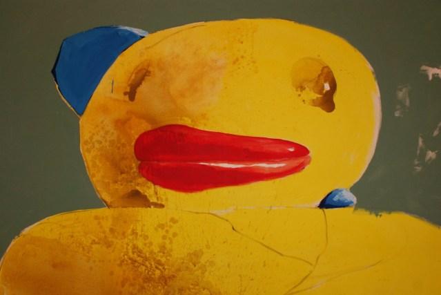 Obra de Michel Pérez, Pollo, en la expo Bla, bla, bla