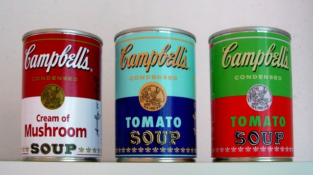 Special edition Campbell's soup cans with Andy Warhol's autograph.