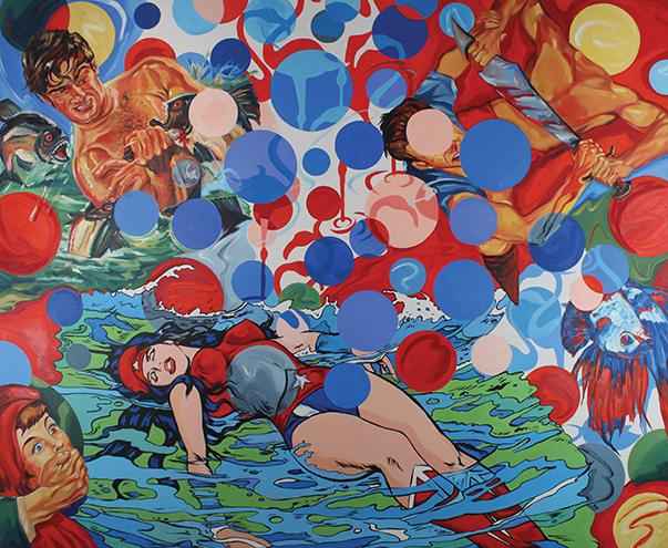 Ciro Quintana, El naugragio de Wonderland, 2007, oil on linen, 71 x 88.5 in