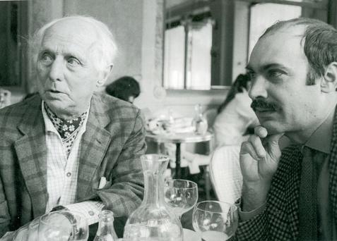 Max Ernst et Joaquin Ferrer au Deux Magots, photo André Morain, décembre 1967