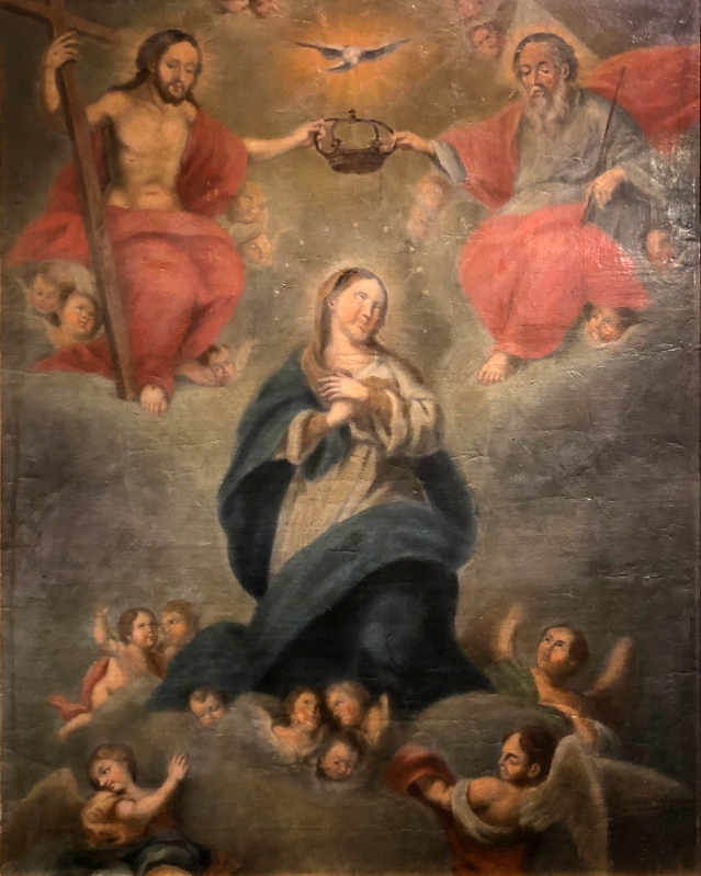 José Nicholas de la Escalera (1734 - 1804) Coronation of thr virgin by the trinity. oil on board