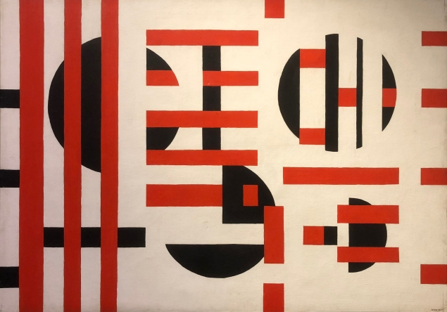 Sandú Darié (1908 - 1991, Dynamic spatial composition, 1955, acrylic on canvas