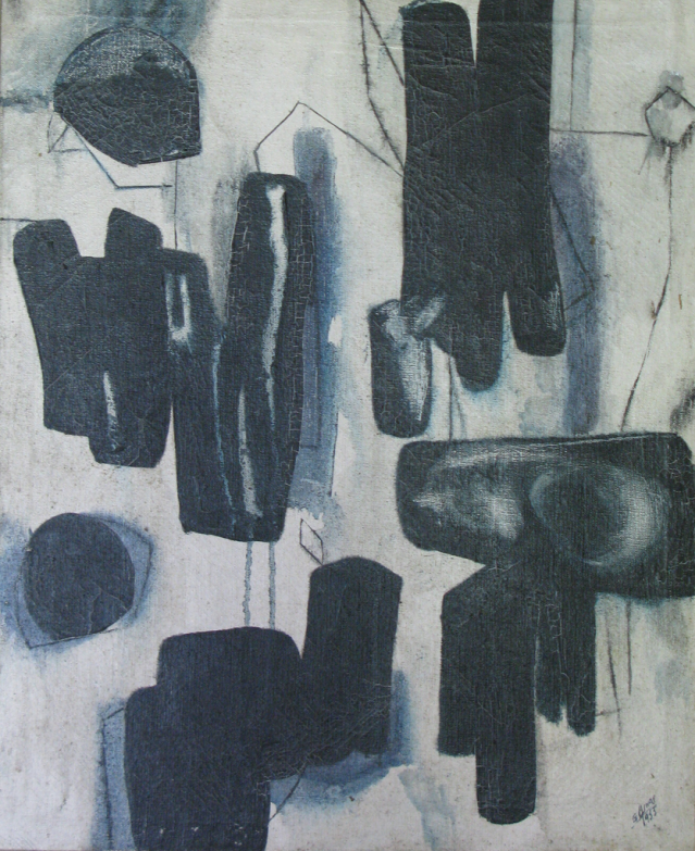 Guido Llinas, Formas, 1955, Oil on canvas, 22 x 18""
