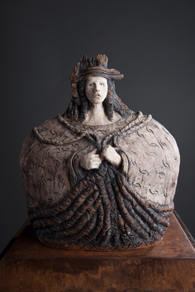 Aimee Perez, La Tejedora, ceramic sculpture with metal base, 20 x 22 x 8 in
