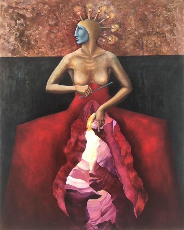 Angela Alés, The Magician, Oil on Canvas, 60 x 48""
