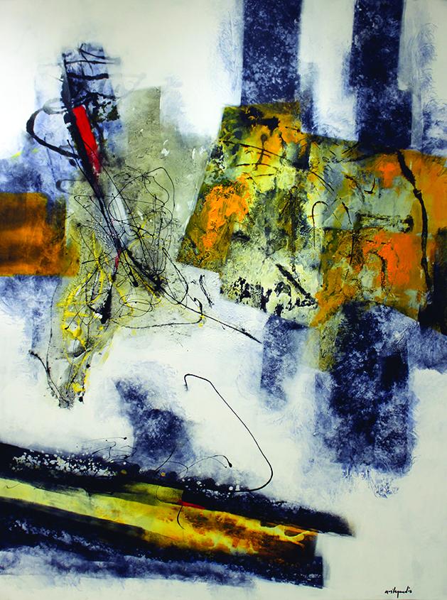 """Pedro Ávila, Jueves de Abril, series Sinfonías del Alba, 2018, mixed media on canvas, 74 x 54"""""""