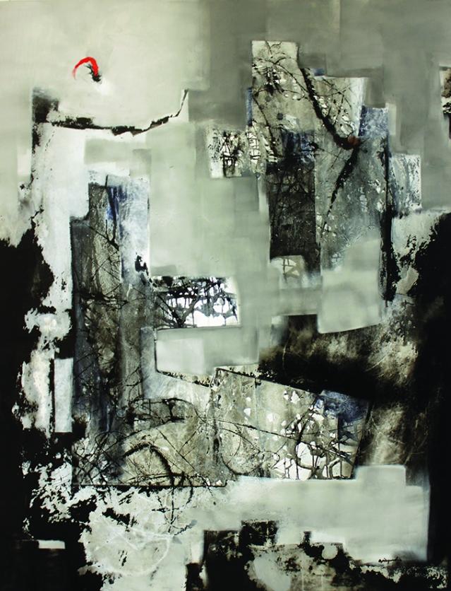 """Pedro Ávila, Martes de Septiembre, series Sinfonías del Alba, 2018, mixed media on canvas, 74 x 54"""""""