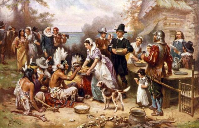 The First Thanksgiving (1915), by Jean Louis Gerome Ferris (American painter, 1863-1930).
