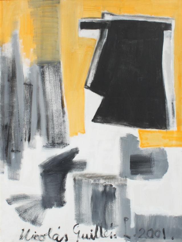 """Nicolás Guillen, En todas partes cuecen habas, 2001, acrylic on linen, 48 x 36"""""""