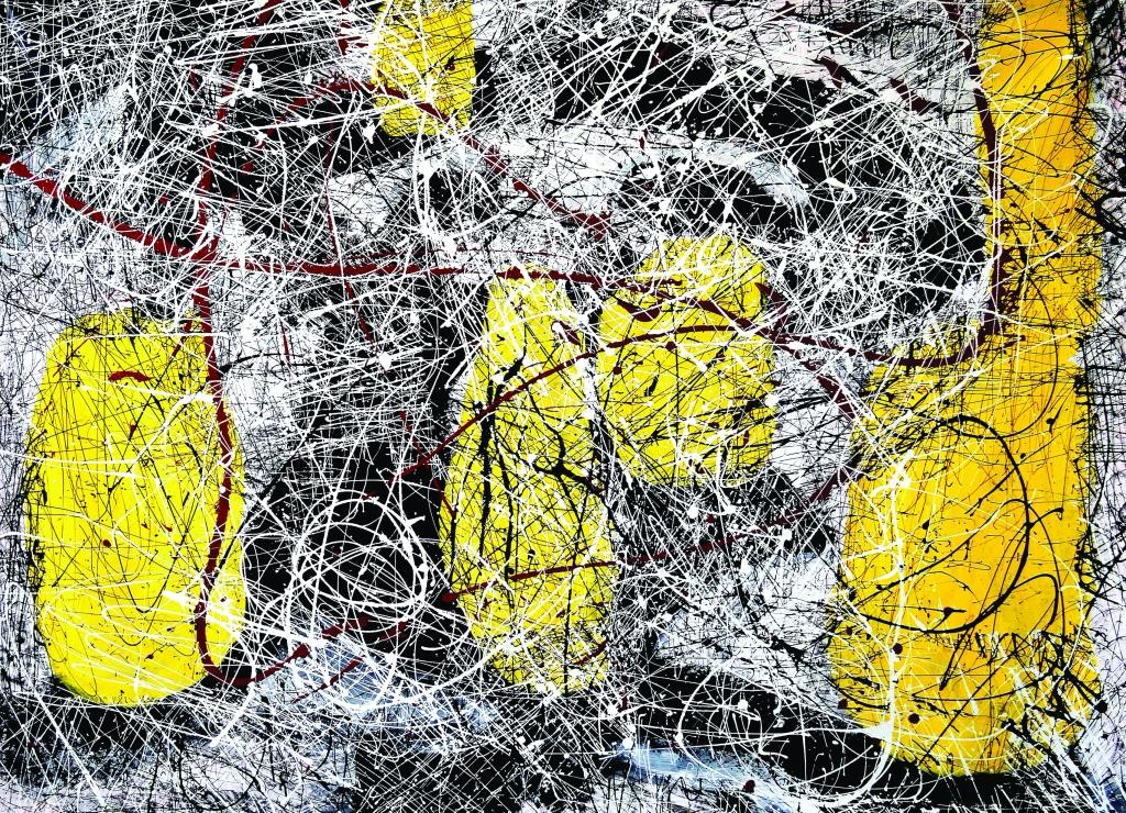 "Lia Galletti, Yellow Throb, 2019, acrylic on canvas, 52 X 71."""